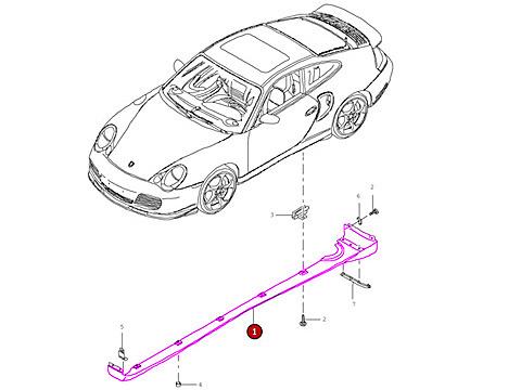 Porsche 996 Turbo Rocker Panel Cover Side Skirt Right Moulding Trim Panel I867736